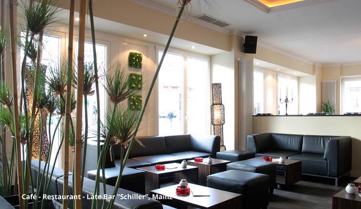 Innenarchitektonische Neugestaltung Café-Restaurant-Late Bar <q>Schiller</q> – Mainz:  Bürogebäude von GID│GOLDMANN-INTERIOR-DESIGN - Innenarchitekt in Sehnde,Modern
