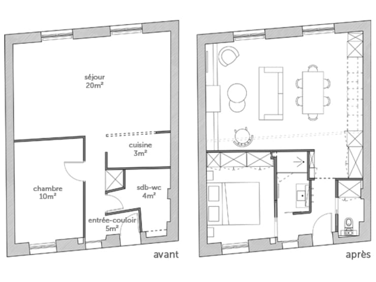 PLAN AVANT/APRES:  de style  par EC Architecture Intérieure