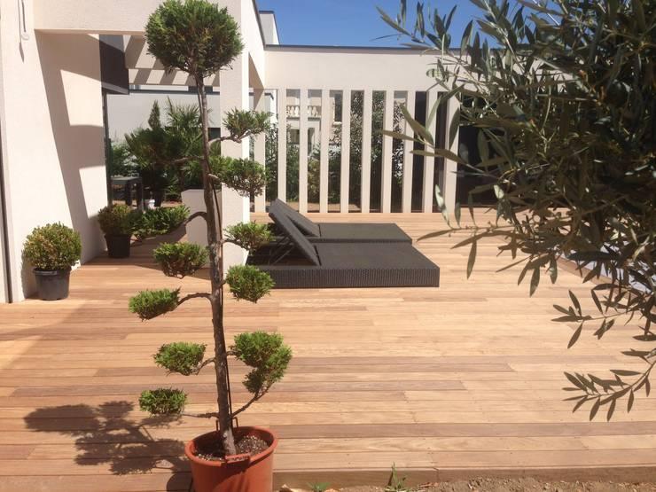 Belle terrasse et plage de piscine en bois exotique Ipé: Terrasse de style  par Made in Bois
