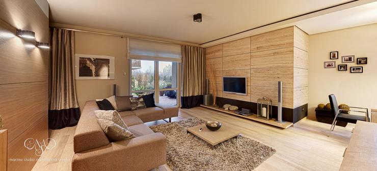 Mieszkanie  w Łodzi: styl , w kategorii Salon zaprojektowany przez Marzec Studio