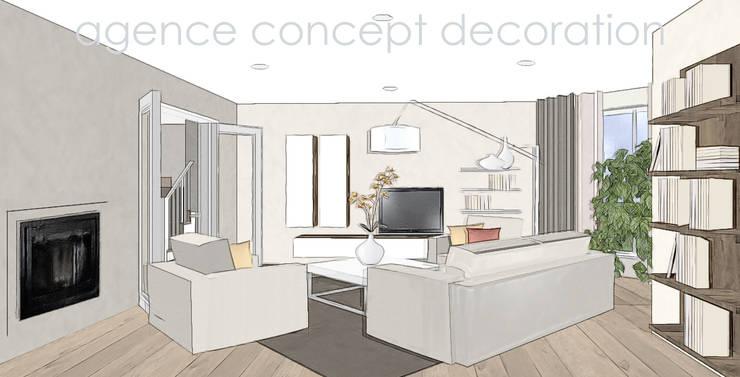 redecorer salon et cuisine: Maisons de style  par agence concept decoration