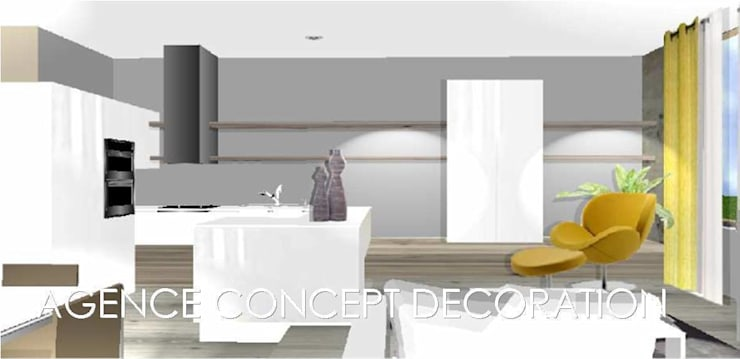 Rénovation appartement ancien : Salon de style  par agence concept decoration