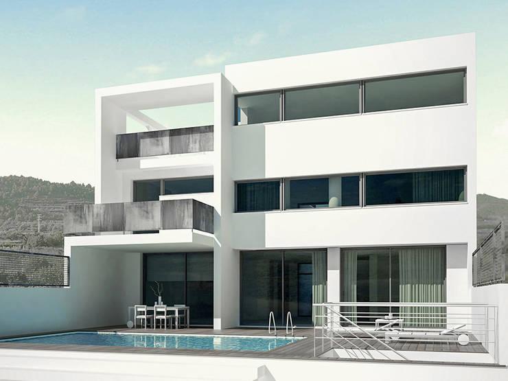Imagen digital. Fachada de la parte trasera con la piscina y la terraza. La Pobla. Chiralt Arquitectos. : Casas de estilo minimalista de Chiralt Arquitectos