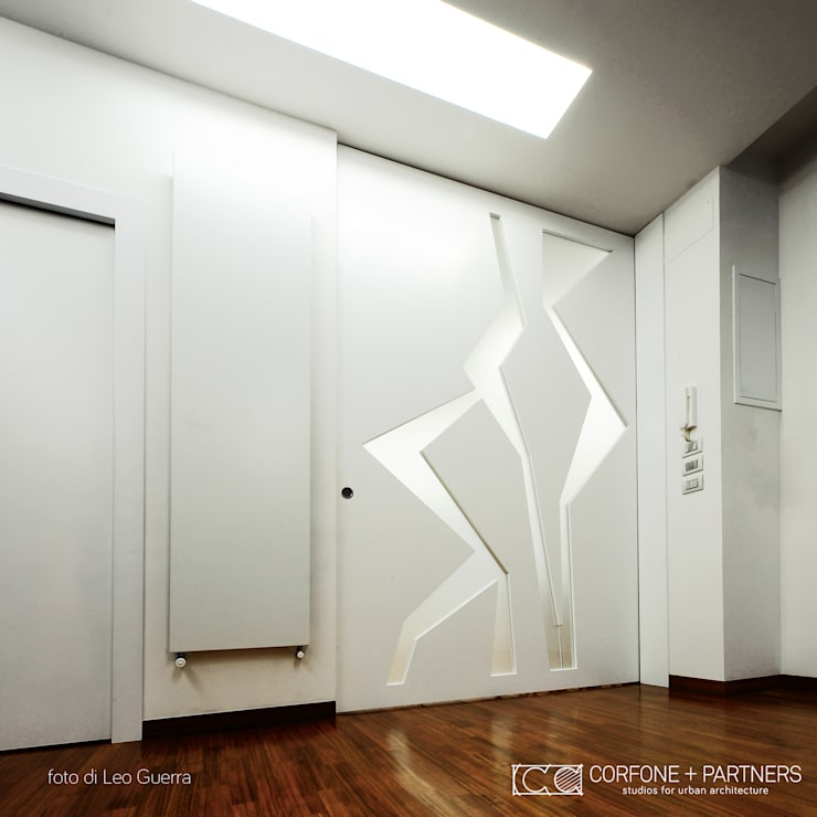 CASA I7: Soggiorno in stile  di CORFONE + PARTNERS studios for urban architecture