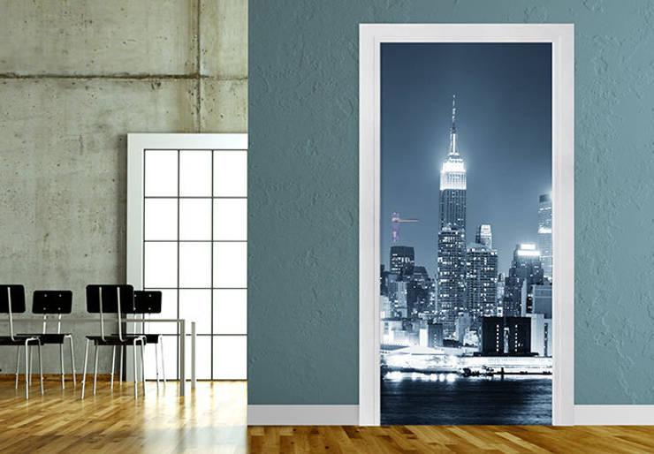 Türdesign New York at Night 1 Panorama :   von K&L Wall Art,Ausgefallen