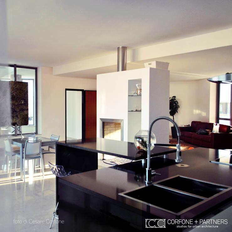Projekty,  Salon zaprojektowane przez CORFONE + PARTNERS studios for urban architecture