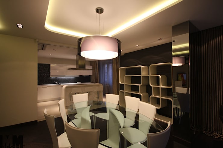 Чёрное и белое: Столовые комнаты в . Автор – ММ-design, Минимализм