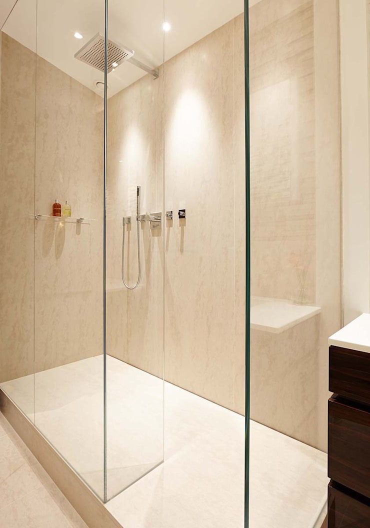 Penthouse Interior Design, River Thames, London:  Bathroom by Residence Interior Design Ltd