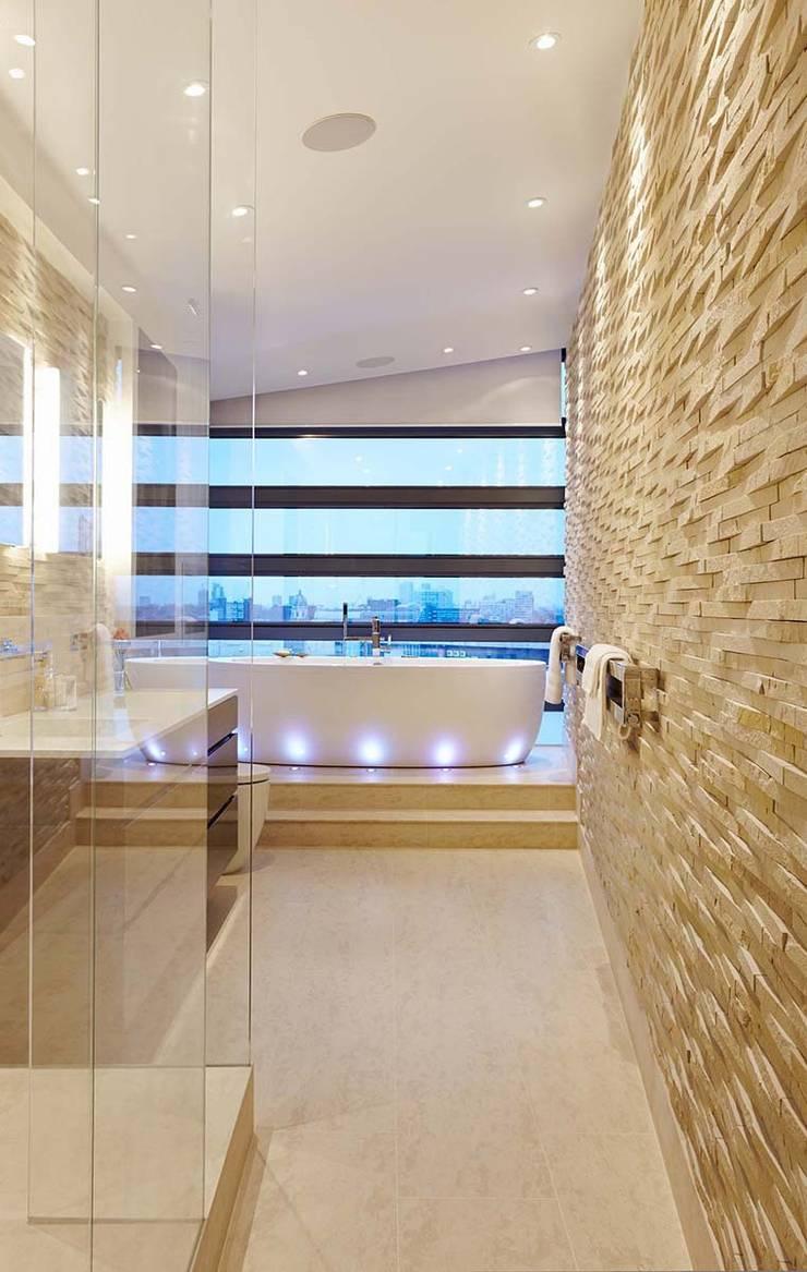 Penthouse Interior Design, River Thames, London:  Bathroom by Residence Interior Design Ltd