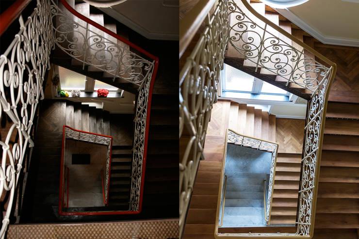 Villa Viktoria Treppenhaus vor und nach der Sanierung: modern  von Wohnwert Innenarchitektur,Modern