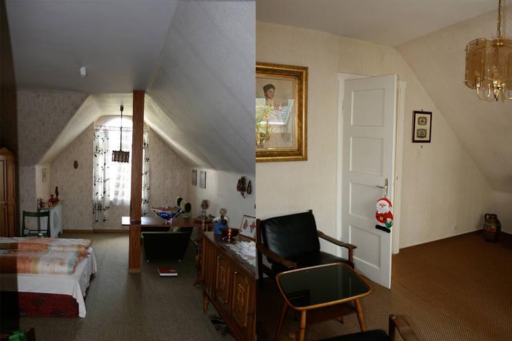 Das Dachgeschoss vor der Sanierung: klassische Schlafzimmer von Wohnwert Innenarchitektur