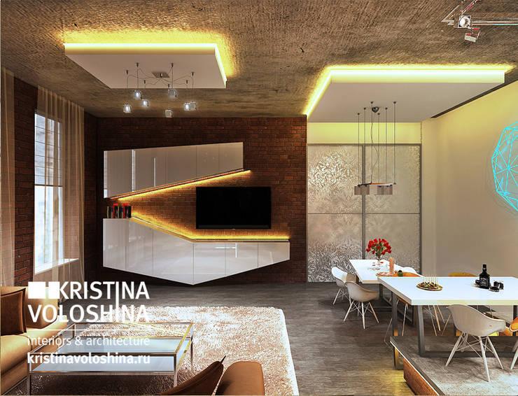 Квартира-студия в бионическом современном стиле.: Столовые комнаты в . Автор – kristinavoloshina