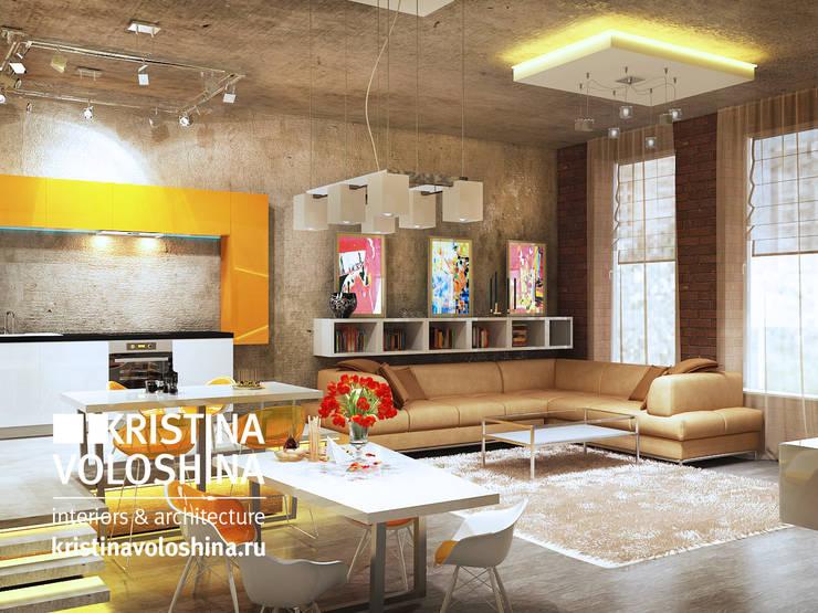 Квартира-студия в бионическом современном стиле.: Гостиная в . Автор – kristinavoloshina
