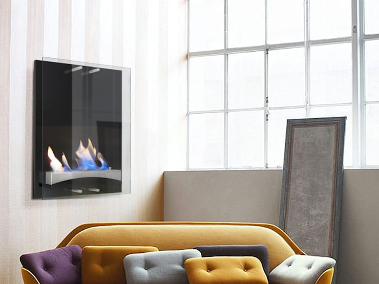 Chimeneas bioetanol pared WISE: Salones de estilo  de Shio Concept