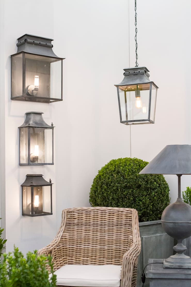 Zinc Coach Lamps & Hanging Lantern:  Garden  by A Place In The Garden Ltd.