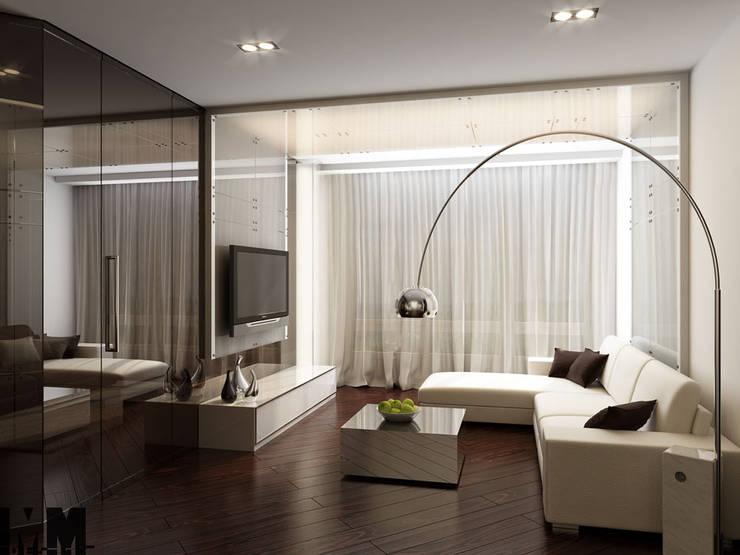 Квартира для холостяка: Гостиная в . Автор – ММ-design, Минимализм