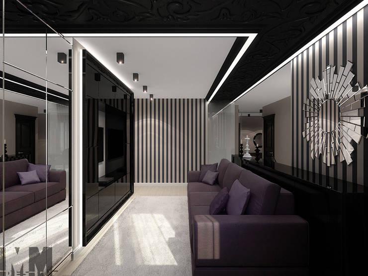 Фьюжн в чёрно-бежевом: Гостиная в . Автор – ММ-design