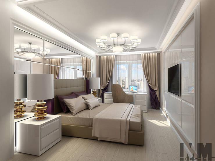 Фьюжн в чёрно-бежевом: Спальни в . Автор – ММ-design