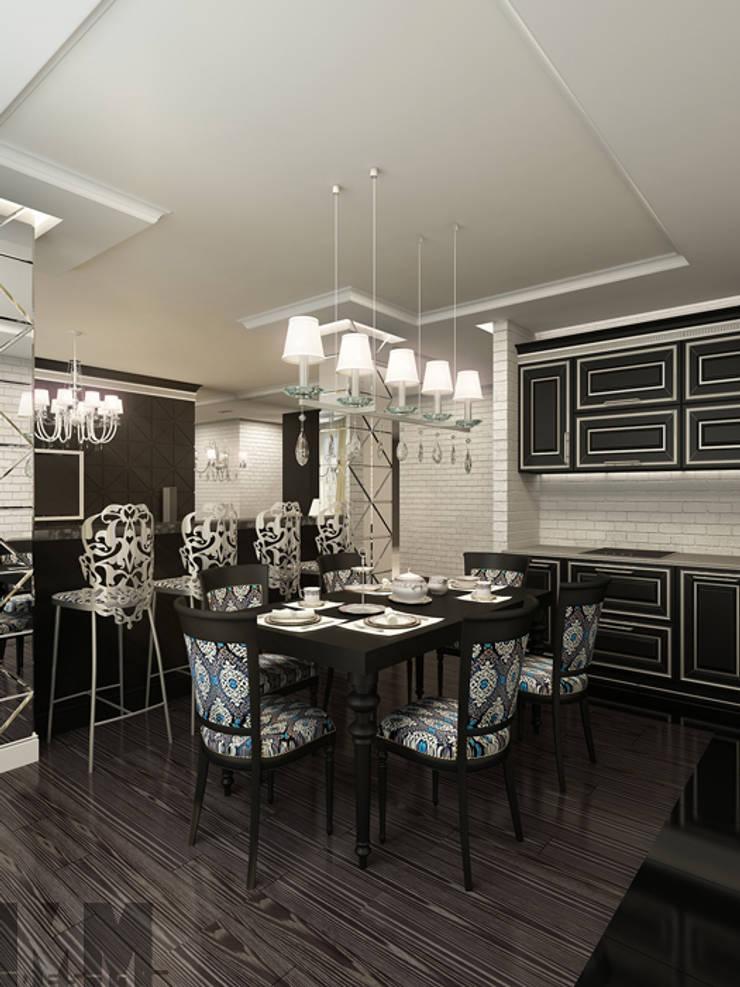 Фьюжн в черно-белом: Столовые комнаты в . Автор – ММ-design