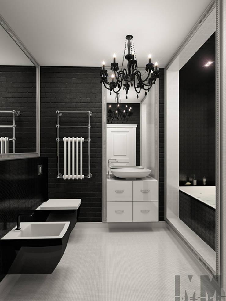 Фьюжн в черно-белом: Ванные комнаты в . Автор – ММ-design