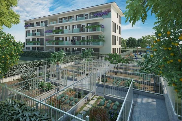 Vista dal giardino condominiale:  in stile  di Studio Guzzo & Partner