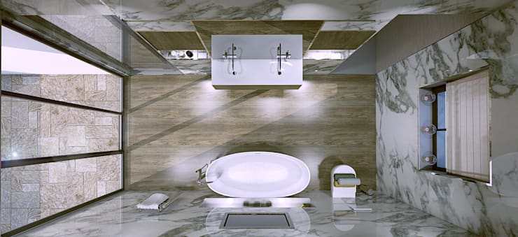 Bathoom design and 3d visual:  Bathroom by Outsourcing Interior Design
