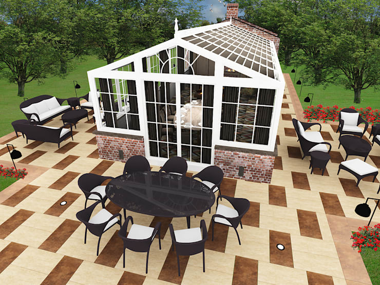 CO Mimarlık Dekorasyon İnşaat ve Dış Tic. Ltd. Şti. – Kış Bahçesi :  tarz Kış Bahçesi, Modern