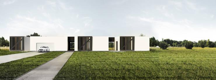 dom horyzontalny: styl minimalistyczne, w kategorii Domy zaprojektowany przez Libido Architekci