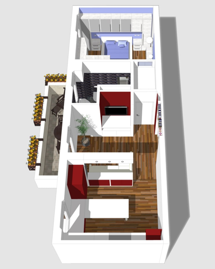 Vista aerea del progetto: Case in stile  di BRENSO Architecture & Design