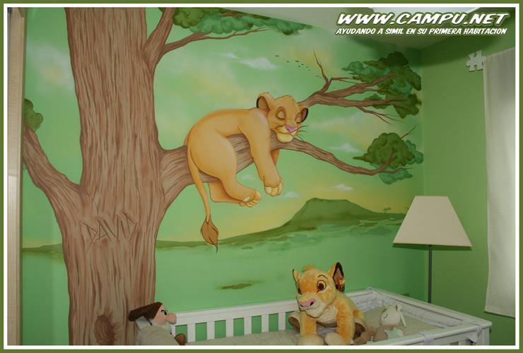 Murales en habitaciones infantiles: Dormitorios infantiles de estilo  de CAMPU.NET