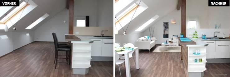 Wohn-Esszimmer mit Kücher Vergleich vorher/nachher:  Esszimmer von raumwerte Home Staging,Modern