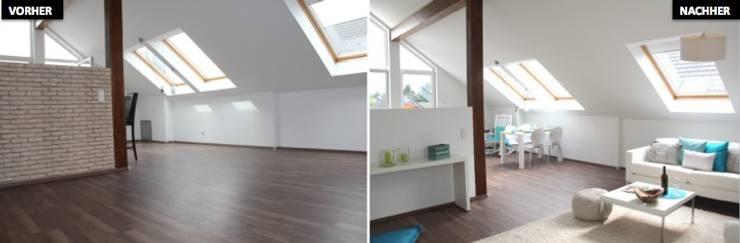 Wohnzimmer Vergleich vorher/nachher:  Wohnzimmer von raumwerte Home Staging,Modern