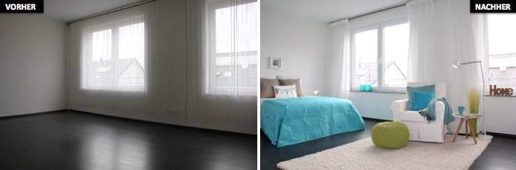 Schlaf-/Ankleidezimmer Vergleich vorher/nachher:  Schlafzimmer von raumwerte Home Staging,Modern
