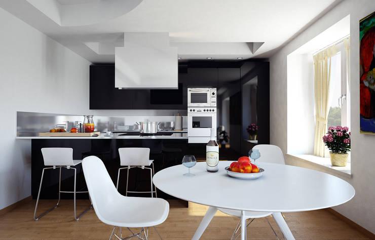 Cucina nera+soggiorno:  in stile  di Studio Andrea Castagna
