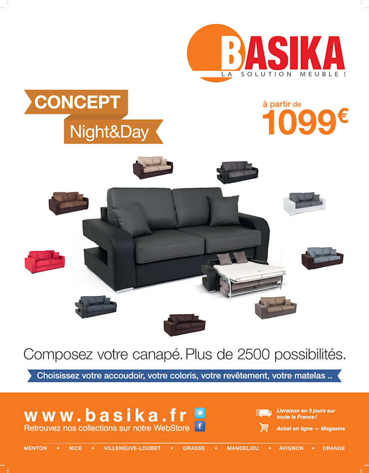 Canapé convertible Night And Day: Salon de style de style Moderne par Basika