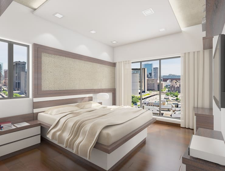 Master bedroom:  Houses by Squaare Interior