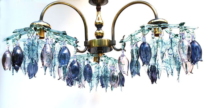 Glass chandelier with flowers and leaves - aqua and purple:  Corridor, hallway & stairs by A Flame with Desire