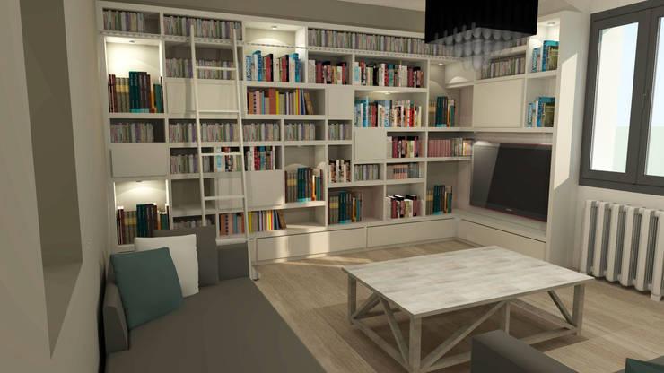 Rénovation d'une pièce de vie à Nantes: Salon de style de style Moderne par Lignes & Idées