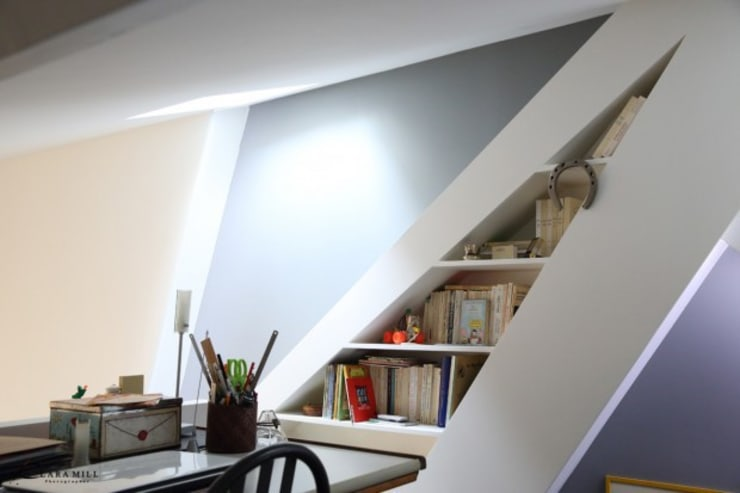 Vue de l'étage sur la bibliothèque: Maisons de style  par Galaktik