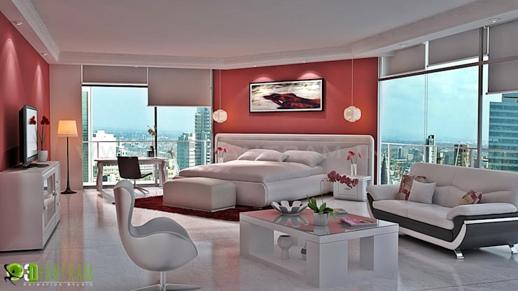 3D Maestro interiore Bed Room Design Studio:  in stile  di 3D Yantram studio di animazione