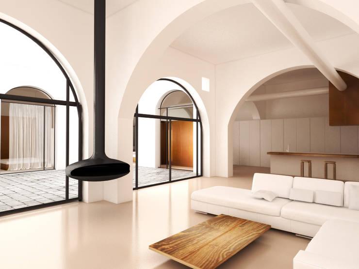 Casa&Putìa: Soggiorno in stile in stile Industriale di MM A   Massimiliano Masellis Architetti