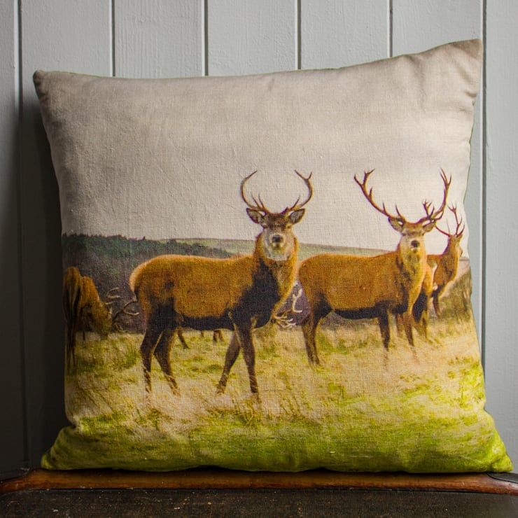 Stag Linen Cushion backed with Vintage Velvet:  Living room by Lomas & Lomas