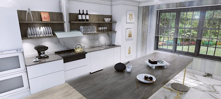 Kitchen design and 3D visual:  Kitchen by Outsourcing Interior Design
