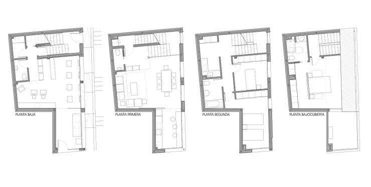 Vivienda unifamiliar y local comercial: Casas de estilo  de ADDEC arquitectos
