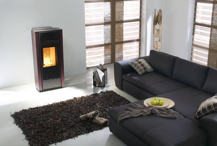 Puristisch in Szene gesetzt: Moderne Ofen-Technik trifft auf klassisches Design:  Wohnzimmer von Spartherm Feuerungstechnik GmbH