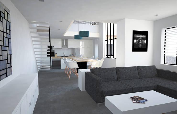 Conception résidence moderne. François Corvi Architecture www.corvi-architecte.com:  de style  par Grazia Architecture