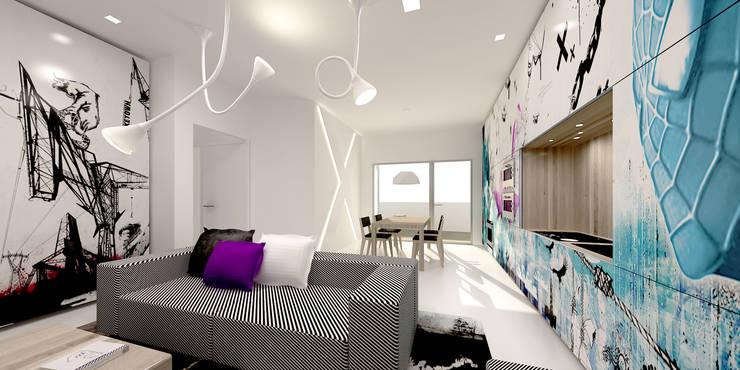 XX HOUSE: Soggiorno in stile  di MDMA, Minimalista