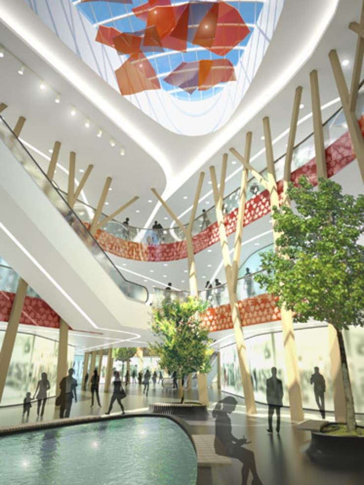 Centro Comercial Milaneo en la plaza Mailänder Platz: Centros comerciales de estilo  de TBI Architecture & Engineering