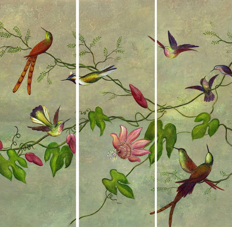 Triptyque Oiseaux exotiques: Art de style  par APOLONY