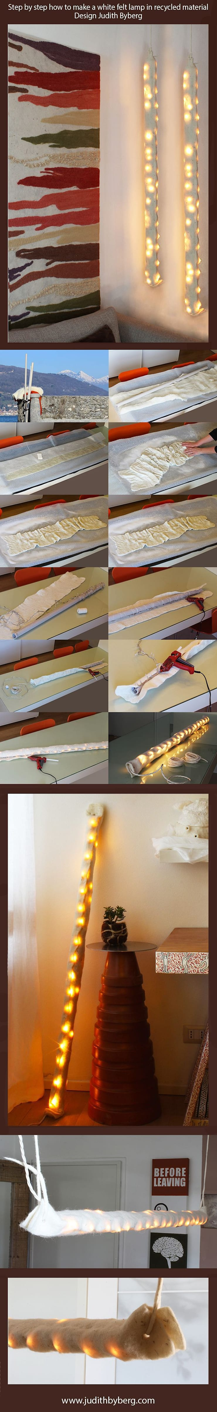 Step by step how to make a felt lamp in recycled material: Casa in stile  di Judith Byberg